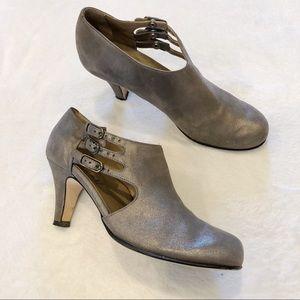 Anyi Lu | Metallic Silver Bootie Heels Sz 37.5/7